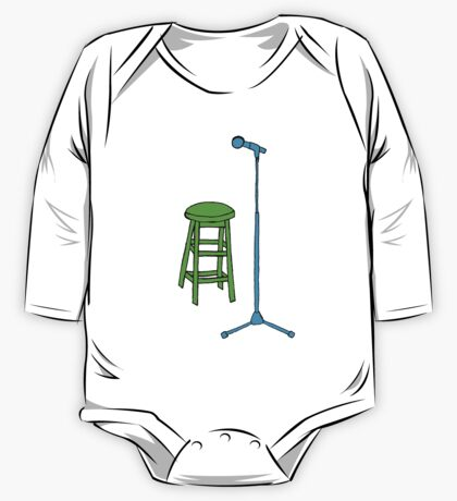 Stand Up Comedy Stool and Mic.  One Piece - Long Sleeve