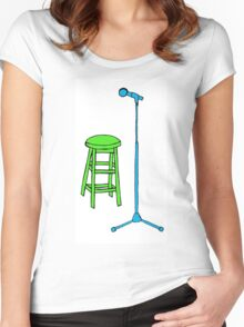 Stand Up Comedy Stool and Mic.  Women's Fitted Scoop T-Shirt