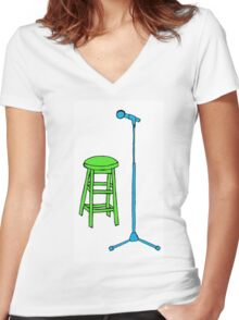 Stand Up Comedy Stool and Mic.  Women's Fitted V-Neck T-Shirt