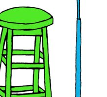 Stand Up Comedy Stool and Mic.  Sticker