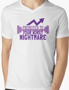 TRAINER FUNNY Promoted to your worst nightmare Mens V-Neck T-Shirt