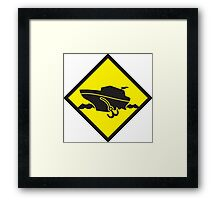 DANGER warning sign Cruise liner boat crossing Framed Print