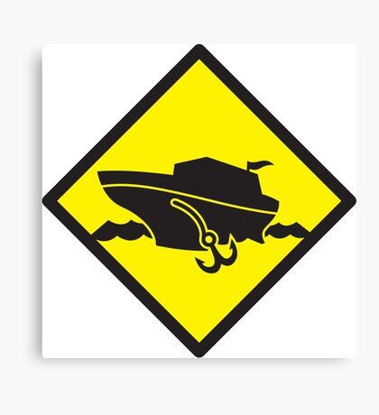 DANGER warning sign Cruise liner boat crossing Canvas Print