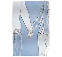 Man and woman holding hands Poster