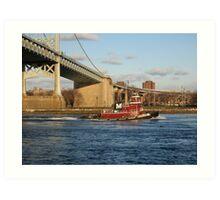 Tug boat on East River Art Print
