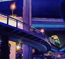 """Shanghai Skyway"" Watercolor by Paul Jackson"