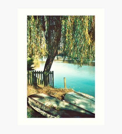 Autumn Row Boats Art Print