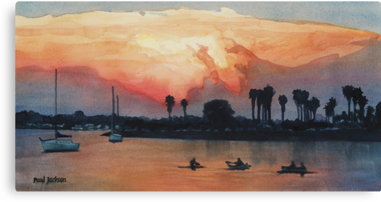 """Mission Beach"" Watercolor by Paul Jackson"