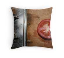cut tomato on the chopping board Throw Pillow