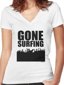 Gone Surfing Women's Fitted V-Neck T-Shirt