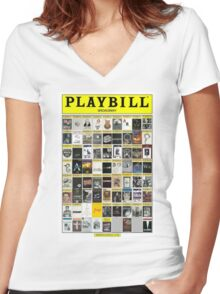 Broadway Playbill Collage Women's Fitted V-Neck T-Shirt