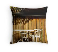 white table and chairs Throw Pillow
