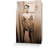 Shower Scene - Sepia Greeting Card