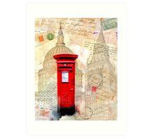 Classic British Red Pillar Box - Postbox Art Print