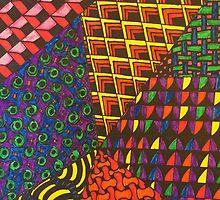 Abstract Geometric Rainbow Zentangle by dearmoon
