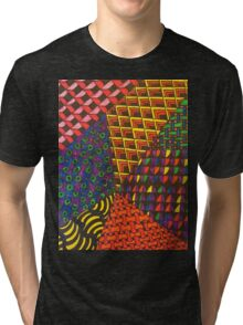 Abstract Geometric Rainbow Zentangle Tri-blend T-Shirt