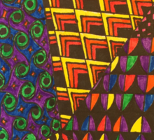 Abstract Geometric Rainbow Zentangle Sticker