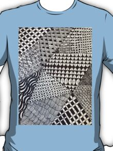 Abstract Geometric Black and White Zentangle T-Shirt