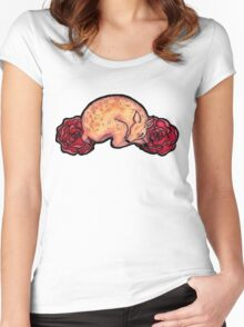 Fawn and Roses Women's Fitted Scoop T-Shirt