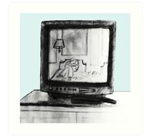 Hotel TV Reflection Art Print