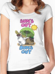 Sun's Out Buns Out Women's Fitted Scoop T-Shirt