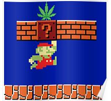 8-bit Retro Mario & Marijuana Poster