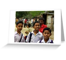 Mising tribe schoolboys, Assam, India Greeting Card