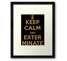Keep Calm And Exterminate Doctor Who Framed Print