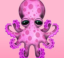 Cute Pink Baby Octopus by Jeff Bartels