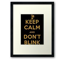 Doctor Who Keep Calm And Don't Blink Framed Print