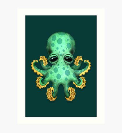 Cute Green Baby Octopus Art Print