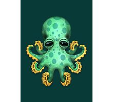 Cute Green Baby Octopus Photographic Print