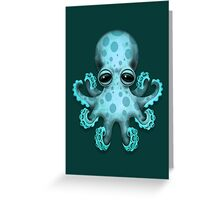 Cute Blue Baby Octopus Greeting Card