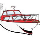 Red Motor Boat II Cartoon by Graphxpro