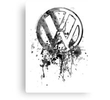 Volkswagen Emblem Splatter BW Canvas Print
