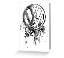 Volkswagen Emblem Splatter BW © Greeting Card