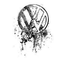 Volkswagen Emblem Splatter BW Photographic Print