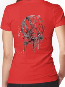 Vee Dub Emblem Splatter BW © Women's Fitted V-Neck T-Shirt