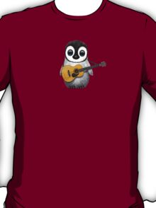 Musical Baby Penguin Playing Guitar Teal Blue T-Shirt