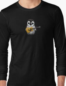 Musical Baby Penguin Playing Guitar Teal Blue Long Sleeve T-Shirt