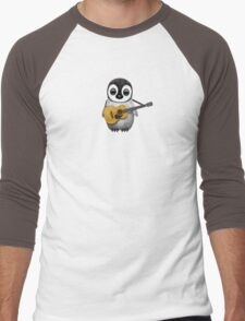 Musical Baby Penguin Playing Guitar Teal Blue Men's Baseball ¾ T-Shirt