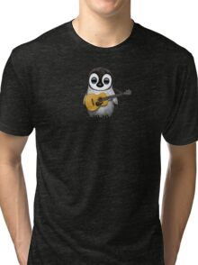 Musical Baby Penguin Playing Guitar Teal Blue Tri-blend T-Shirt