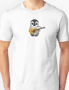 Musical Baby Penguin Playing Guitar Teal Blue Unisex T-Shirt