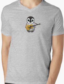 Musical Baby Penguin Playing Guitar Teal Blue Mens V-Neck T-Shirt