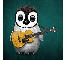 Musical Baby Penguin Playing Guitar Teal Blue Photographic Print
