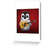Musical Baby Penguin Playing Guitar Red Greeting Card