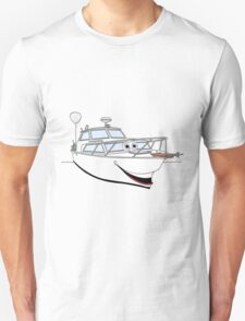 White Motor Boat II Cartoon T-Shirt