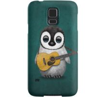 Musical Baby Penguin Playing Guitar Teal Blue Samsung Galaxy Case/Skin