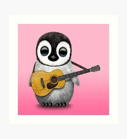 Musical Baby Penguin Playing Guitar Pink Art Print