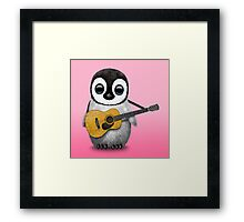 Musical Baby Penguin Playing Guitar Pink Framed Print